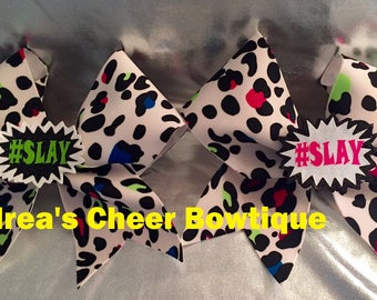 3D White cheetah print #SLAY cheer bow