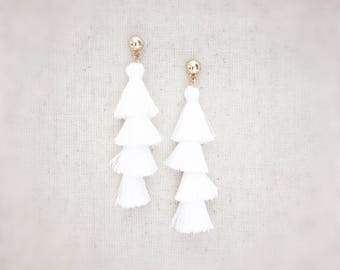 Tassel earrings, white earrings, white tassel earrings, tassel earrings white, statement earrings, white statement earrings, tiered tassel