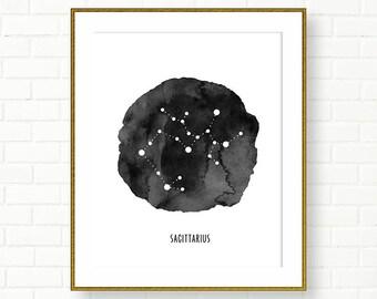 SAGITTARIUS, Zodiac Sign Print, Horoscope, Astrology, Printable, Constellation, Universe, Black White Wall Decor, Modern, INSTANT DOWNLOAD