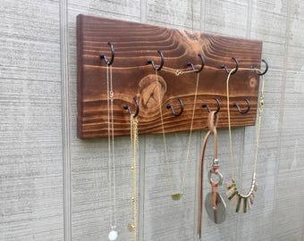 9 Hook Wood Necklace Holder, Jewelry Display, Necklace Organizer, Necklace Display, Jewelry Hanger, Jewelry Holder, Accessory Organizer