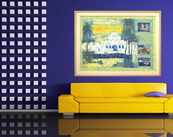 Tunisian Island, Canvas Giclée Print, Landscape of Djerba, Modern Painting, Decor Wall Art Print, Typical Orient Architecture, Cosy Home Art