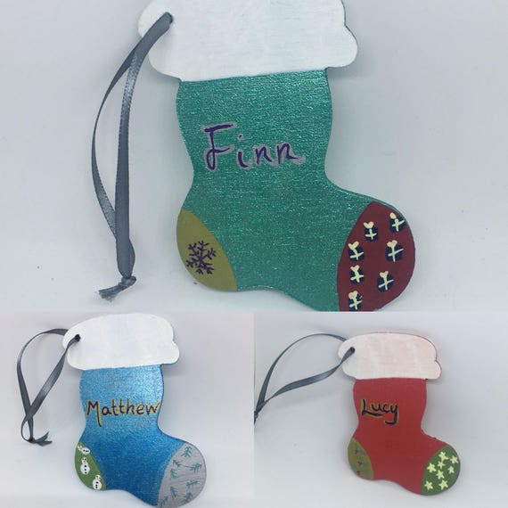 Wooden Christmas Stocking Decoration, Gift Tag Personalisation Available Red, Blue, Green