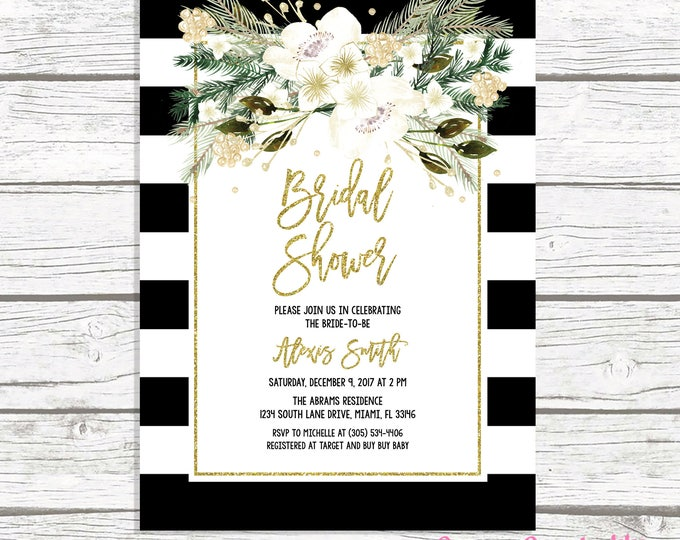 Christmas Bridal Shower Invitation, Black and White Stripe Bridal Shower Invitation, White and Gold Bridal Shower, Christmas Floral Invite
