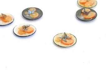 Butterfly feeding on sugar and orange slice - dollshouse miniature food
