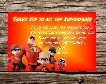 Incredibles Thank You Card, Incredibles Thank You Note, Incredibles Birthday Party, Incredibles Party, Incredibles Thank You Note