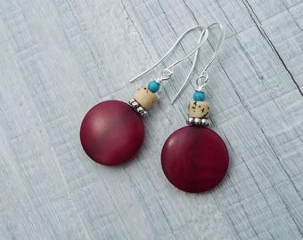 red natural earrings, tagua earrings, howlite turquoise, simple, everyday earrings, sister gift, friend gift, natural gift, gift for her