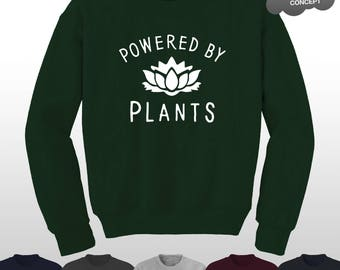 Powered By Plants Sweatshirt Vegan Eat Fruit Not Friends Vegetarian Animal Lover Sweater Top Pullover Jumper Vege