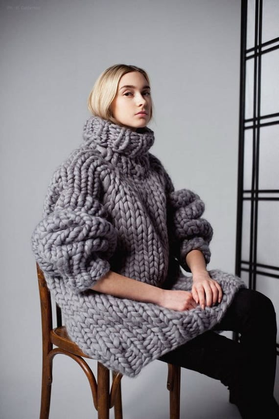 Chunky knit sweater dress. Chunky knitting turtleneck. Her