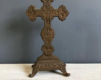 Vintage cast iron cross / cross relic / celtic cast iron cross / cross / religious decor