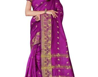 Indian Designer Magenta Colored Banarasi Silk Saree Bollywood Party Wear Engagement weeding  Readymade trendy silk Saree Blouse women