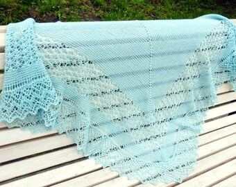 Rock Island Green Lace Shawl. Ready To Ship. Free Ship! Knitted Shawl. Hand Knitting. Openwork Shawl. Knit Triangular Shawl. Lace Wool Shawl