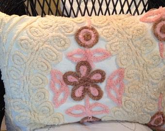 Chenille Pillow Sham, tan, beige, brown, pink, repurposed, Vintage chenille, vintage crochet, tea stain, vintage pillowcase, envelope close