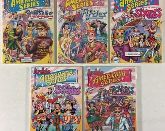 Lot of 5 Archie Americana Series TPB Magazine Comic Books: Best of Forties, Fifties, Sixties, Seventies, and Eighties