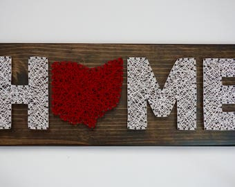 Ohio HOME String Art, Ohio String Art, Home String Art, Home Decor, Ohio Decor, Home is where the heart is, Home Sign