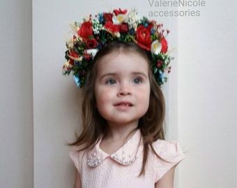 Flower crown Wedding flower crown Bridal headband Floral crown Flower hair wreath Flower halo Ukrainian crown Red flower crown