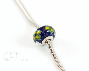 Colorful bracelet bead, european charm Murano glass bead, Blue charm bead, sterling silver large hole charm, unique gift for women