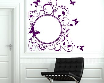 Wall Art Mural  Round Frame with Butterfly Pattern Floral Studio Decal (#2745dn)