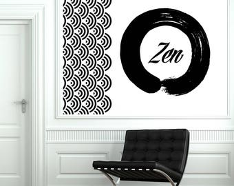 Wall Vinyl Decal Circle Zen Ornament Meditation Buddhism Decor for Yoga Studio (#2600dn)