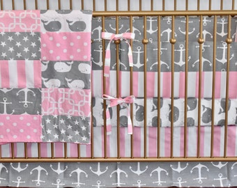 Grey and Pink Nautical Crib Bedding, modern nursery, modern quilt, nautical, whales, anchors, minky quilt, crib bedding,