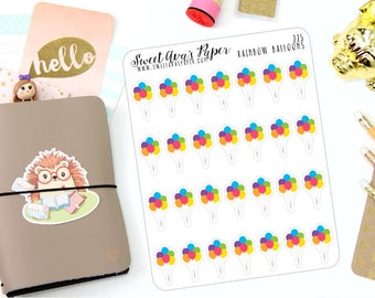 Balloon Planner Stickers - Rainbow Planner Stickers - Birthday Planner Stickers - Event Planner Stickers - 225