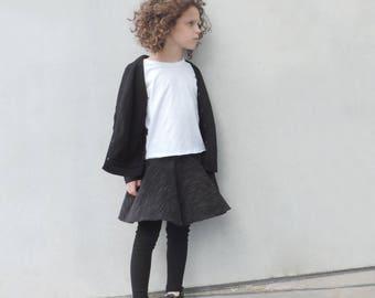 Black Skirt Girls - Girls Skirt Leggings - Toddler Black Skirt - Full Circle Skirt - Girls Size from 18m to 9-10Y - By PetitWild