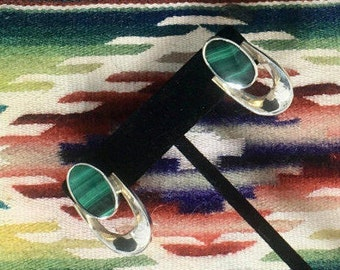 Sterling Silver Taxco Malachite  Earrings Signed