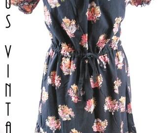 """Plus Size UK 18 1970s Vintage Gypsy Dress Floral Cotton Lace Hippy Peasant US 14 Bust 44"""" 112cm"""