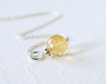 Natural Citrine Pendant - Sterling Silver Dangle - Natural Genuine Yellow Gemstone - November Birthstone - Pandora Compatible