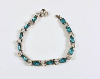 Rhinestone Bracelet, Clear Rhinestones, Aquamarine Rhinestones, Vintage Silver Bracelet, Blue Stones, Circa 1950s, early 1960s, Gift for Her