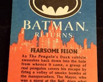 "Vintage 1992 Topps Batman Returns Trading Card, ""Fearsom Felon"" #68"