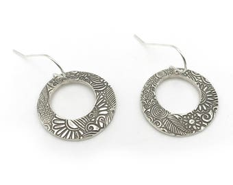 Round Textured Dangle Earrings | Large Loop Earrings| Silver Round Earrings | Boho Jewelry | Silver Clay Boho Earrings | Metal Clay Jewelry