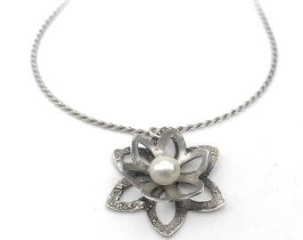 Silver Flower Pendant | Garden Jewelry | Botanical Jewelry | Flower Necklace | Silver & Pearl Necklace | Pearl Jewelry | Metal Clay Jewelry