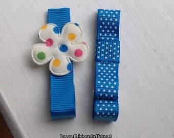 Flower | Hair Clips for Girls | Toddler Barrette | Baby Hair Clips | Kids Hair Accessories | Blue Grosgrain Ribbon | No Slip Grip