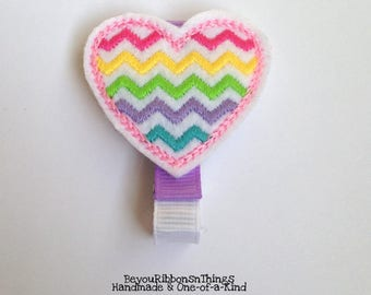 Heart | Chevron | Hair Clip for Girls | Toddler Barrette | Kids Hair Accessories | Lavender Grosgrain Ribbon | Felties | No Slip Grip