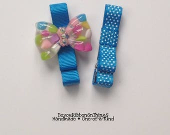 Bubble Bows | Hair Clips for Girls | Toddler Barrette | Kids Hair Accessories | Blue Grosgrain Ribbon | No Slip Grip