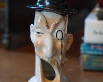 Vintage Novelty Cigarette Ashtray/ Made in Japan/ Posh Gentleman/ Swell Gentleman ashtray/ Top Hat ashtray/ Monocle/ Man Ashtray