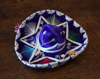 Small Purple Velvet Sombrero/6 Inches Diameter/ Mariachi Sombrero