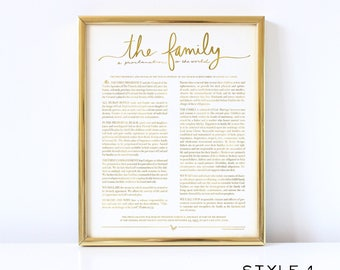 The Family Proclamation to the World - Family Proclamation - LDS - Mormon - Family - Real Foil - Gold Foil Print - Home Decor - Church