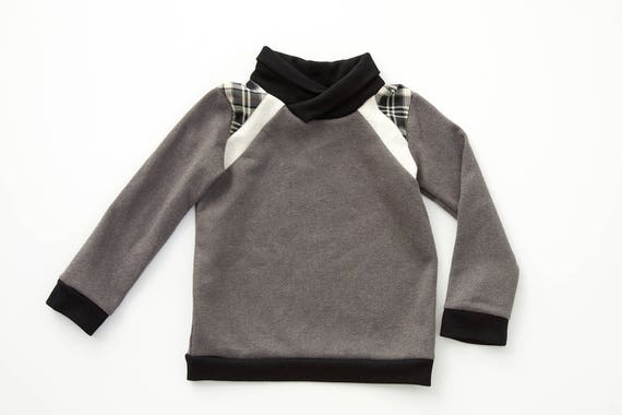 STELLAIRE - long-sleeves sweater with shawl collar, baseball shirt, pull for kids: boys - grey