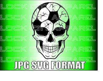 Skull Soccer Head SVG Cut File SIlhouette Cricut