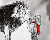 Lion wall art, Black and White Nursery Decor, Red accents, Square Digital Print, Willow Branch Studio