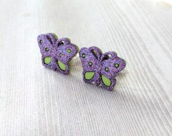 Butterfly Clip On Earrings for Girl Butterfly Earrings Clip-On Earrings Non-Pierced Earrings for Sensitive Skin Purple Butterfly Earrings