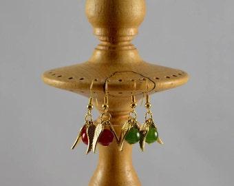 Gemstone Bead Gold Winged Drop Earrings, Ruby, Emerald