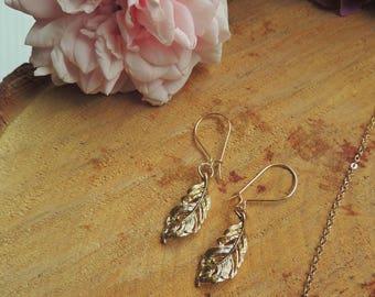 Feather earrings, gold, bohemian earrings, love, gift for women