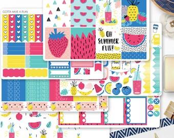 Planner Stickers Lemonade Party Weekly Kit for Erin Condren, Happy Planner, Filofax, Scrapbooking