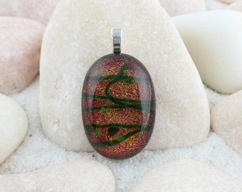 Dichroic fused glass pendant, red dichroic pendant, red and green pendant, small dichroic pendant