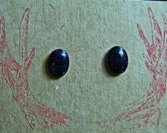 Midnight Goldstone Stud Earrings