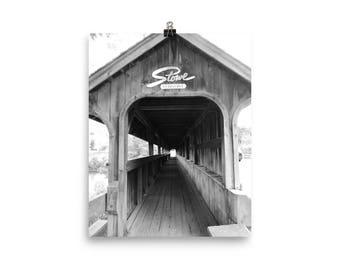Stowe, Vermont Print Covered Bridge