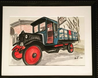 Custom painting from photo, real estate closing, birthday, new home gift, classic truck