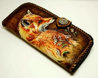 Handtooled woman's leather wallet, hand-carved woman's wallet, tooled leather purse with red  fox, carved purse, fox wallet MADE-TO-ORDER